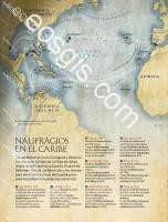 Map of travel and subsidence of Spanish galleons - EOSGIS Cartografia Magazine